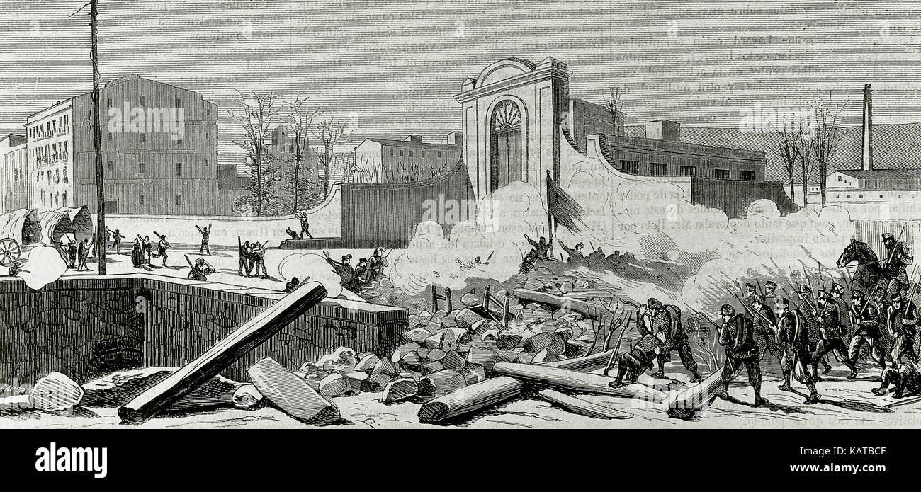 """Spain. Catalonia. Barcelona. Uprising against the conscription in 1870. The barricade built at the foot of the Espana Industrial (Sants neighbourhood) is attacked by the troops. Engraving by Laporta. """"La Ilustracion Espanola y Americana"""", 1870. Stock Photo"""