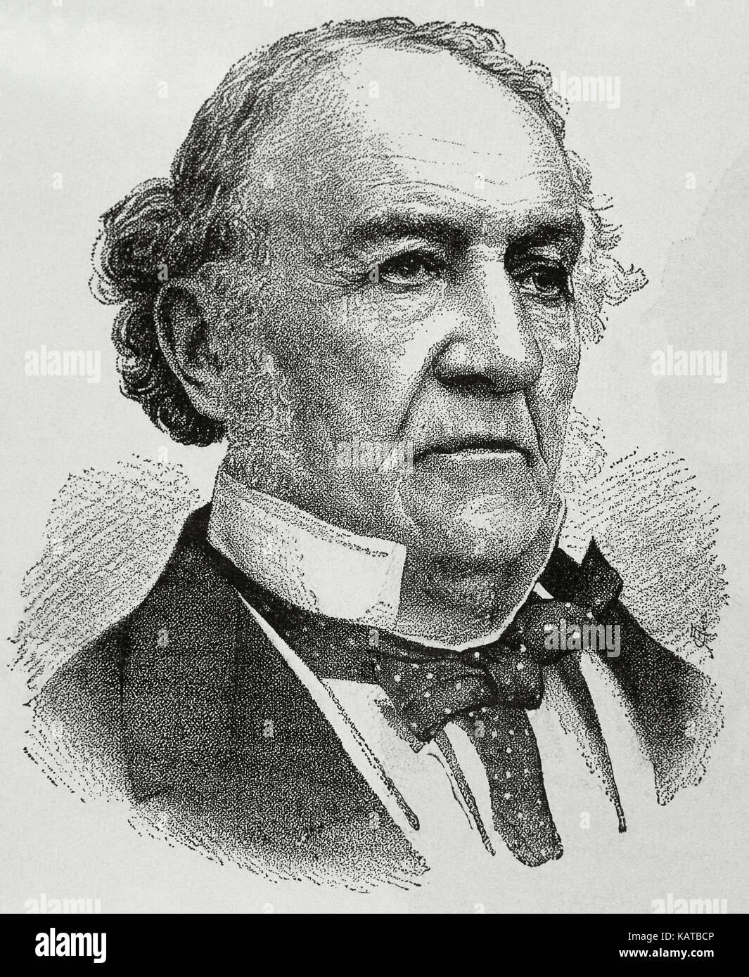 William Ewart Gladstone (1809-1898). British Liberal statesman. Portrait. Engraving. Stock Photo
