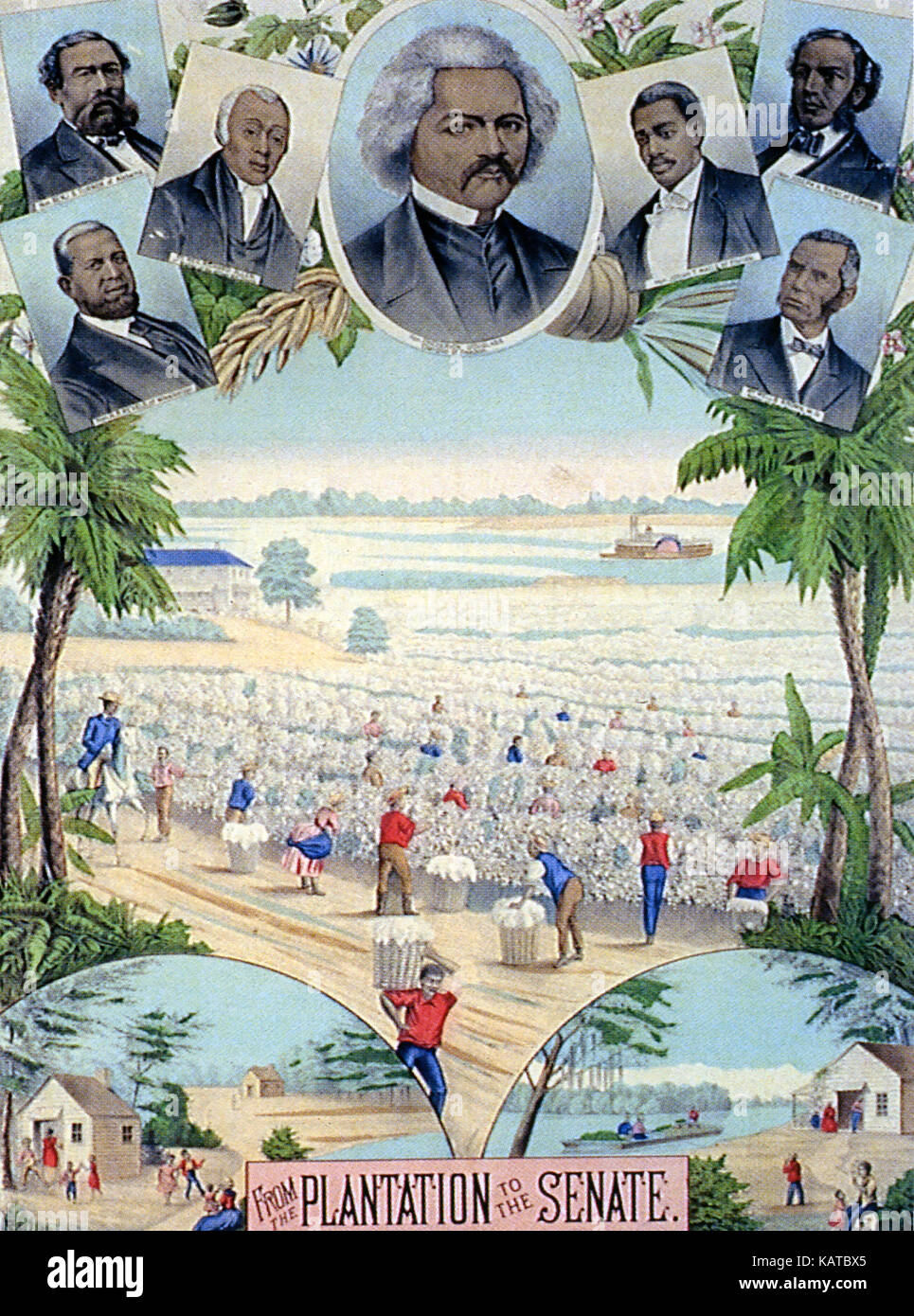 FROM THE PLANTATION TO THE SENATE  Coloured lithograph about 1880 celebrating professional African Americans. From - Stock Image