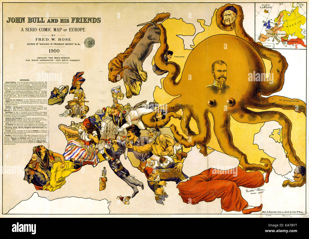 JOHN BULL AND HIS FRIENDS  A 1900 satirical map of Europe by British cartoonist and civil servant Frederick W. Rose - Stock Image