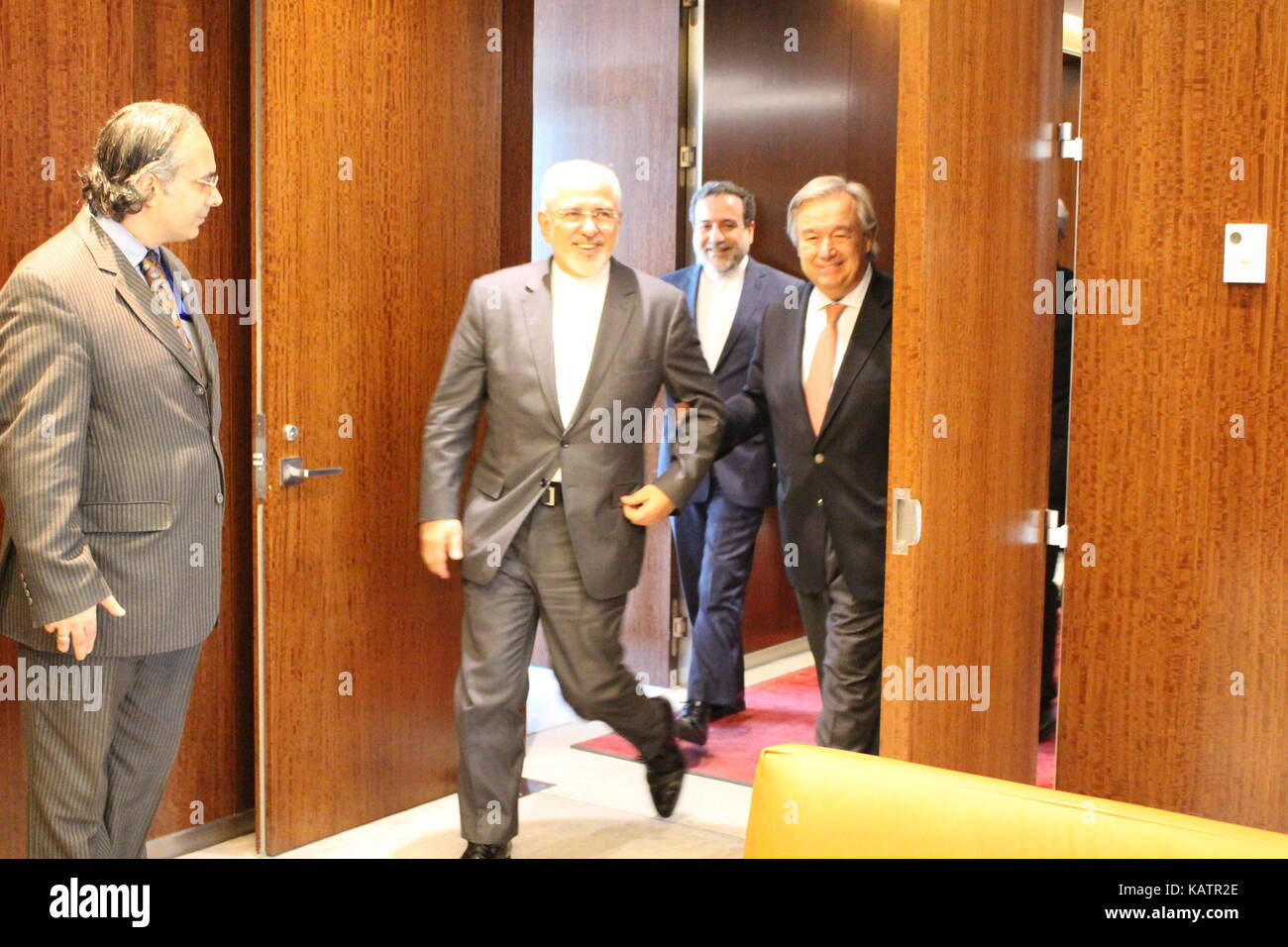 UN, New York, USA. 27th Sept, 2017. Iran's Foreign Minister Mohammad Javad Zarif met UN Secretary-General Antonio Stock Photo