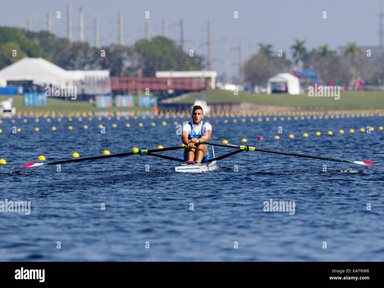 Sarasota-Bradenton, Florida, USA. 27th Sep, 2017. Salvatore Monfrecola of Team Italy during the (M1x) Men's Single Sculls - Semifinal in the World Rowing Championships being held at Nathan Benderson Park in Sarasota-Bradenton, Florida. Del Mecum/CSM/Alamy Live News Stock Photo