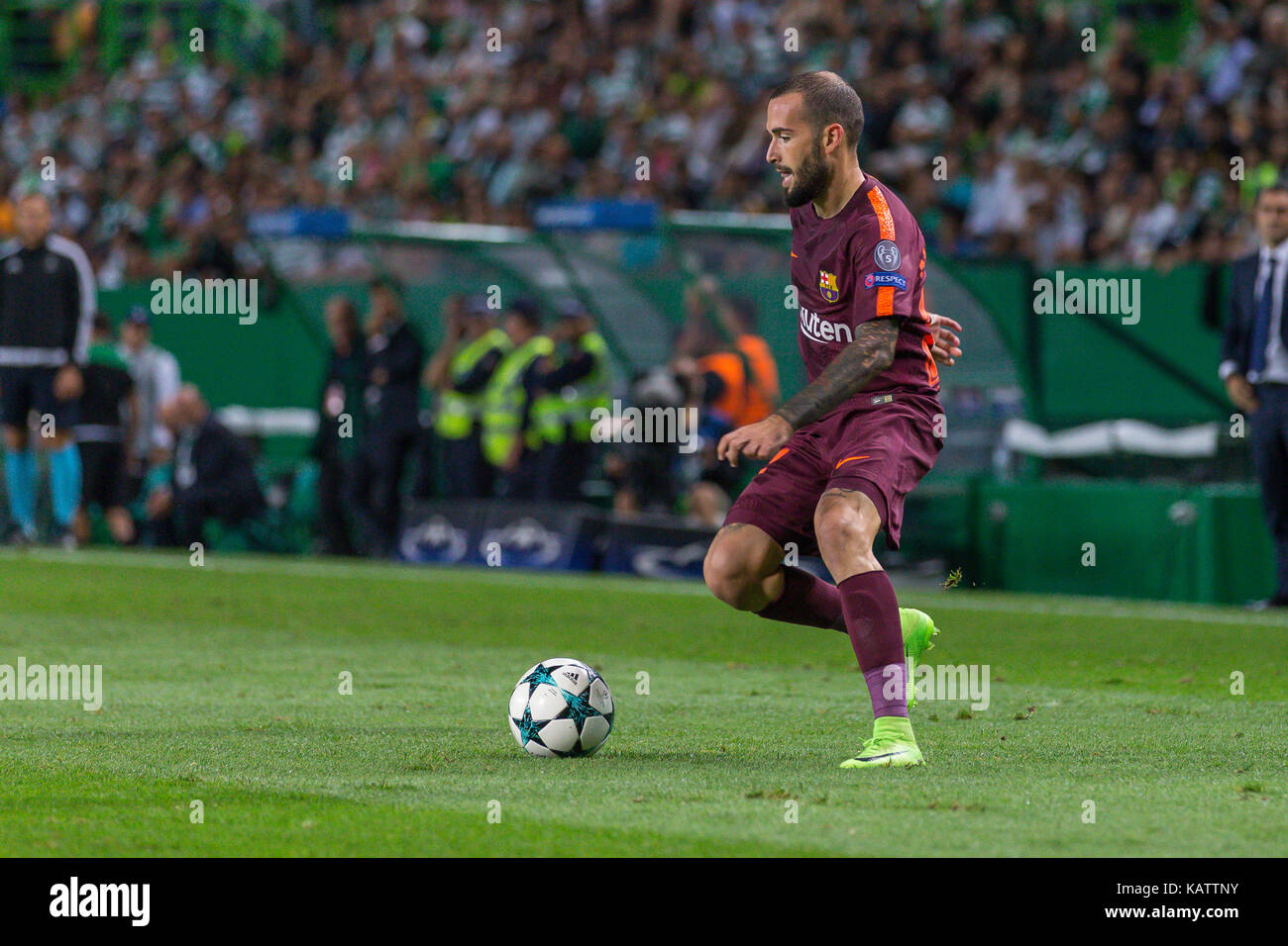 Lisbon, Portugal. 27th Sep, 2017. Barcelona's defender from Spain Aleix Vidal (22) during the game of the 2nd - Stock Image