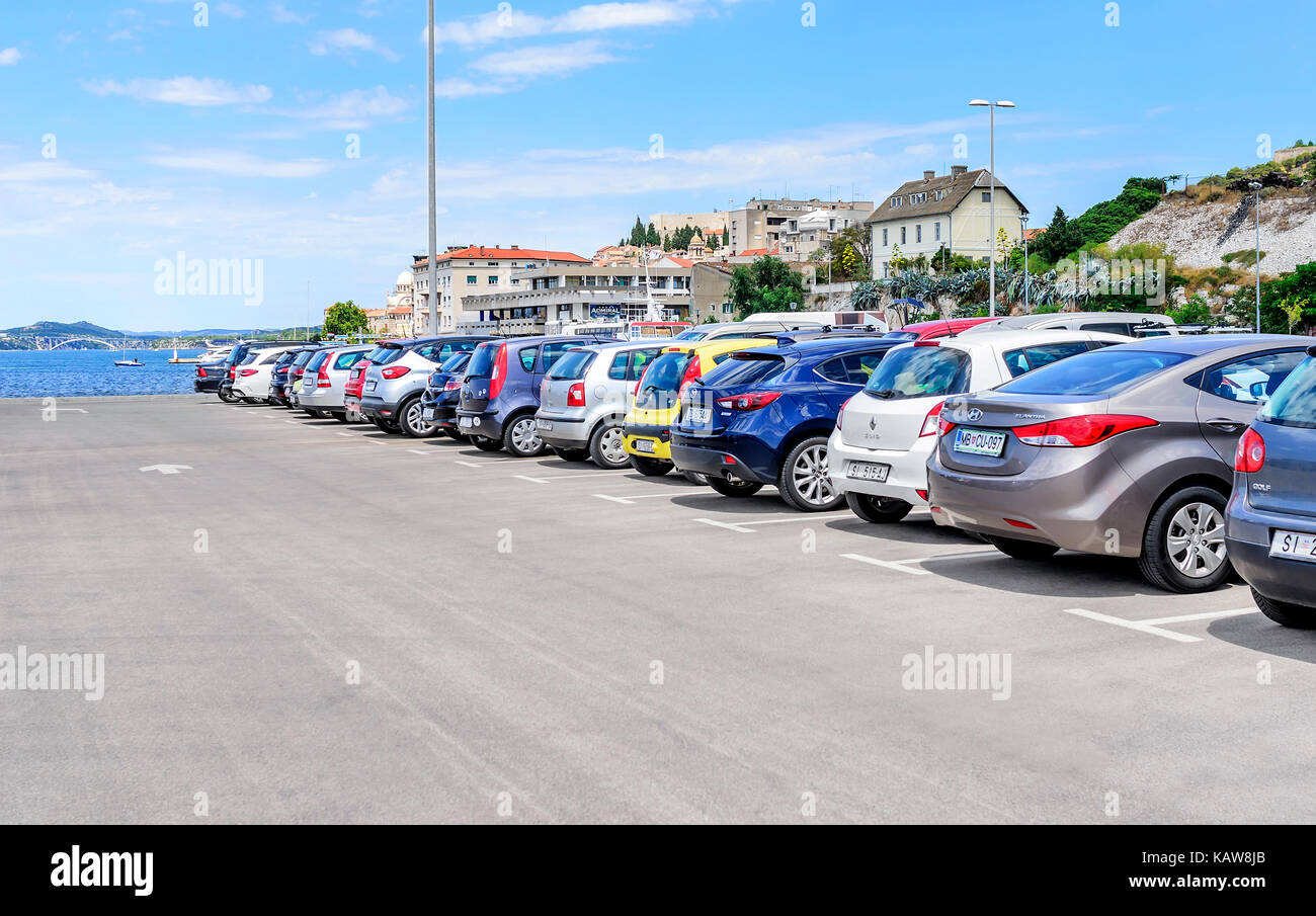 Parking cars in the port. - Stock Image