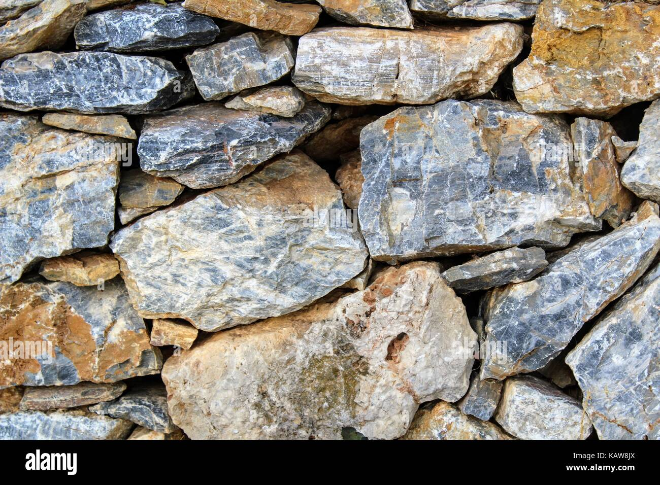 Fragment of the masonry of the castle wall in Alanya (Turkey), which can be used in graphic design. - Stock Image