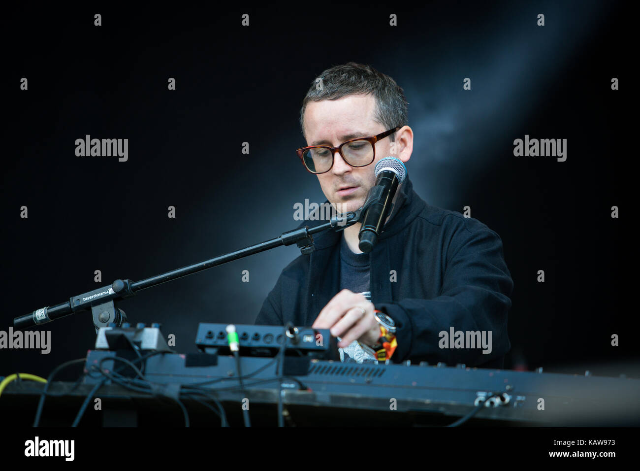The British electronic music band Hot Chip performs a live concert at the music festival Lollapalooza 2015 in Berlin. - Stock Image