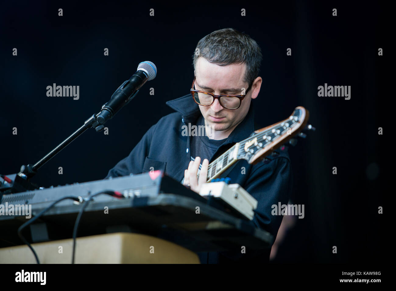 The British electronic music band Hot Chip performs a live concert at the music festival Lollapalooza 2015 in Berlin. Stock Photo
