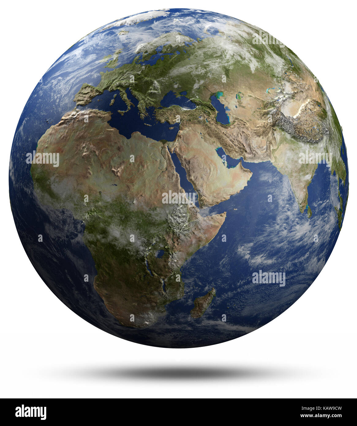 Earth globe - Africa, Europe and Asia. Elements of this image furnished by NASA 3d rendering - Stock Image
