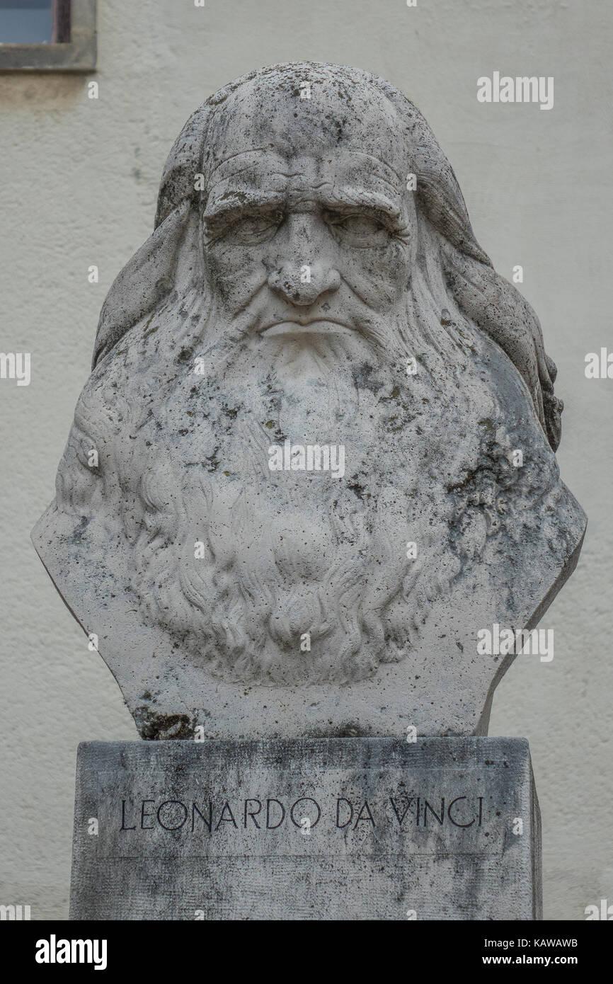 Hungary, Pecs, Leonardo da Vinci bust - Stock Image