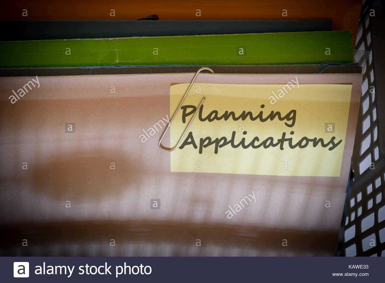Planning Applications written on document folder, Dorset, England. Stock Photo