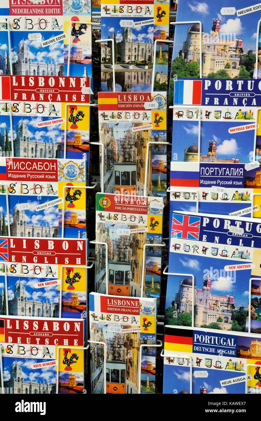 Guide books for sale about Lisbon in many languages, Lisbon, Portugal - Stock Image