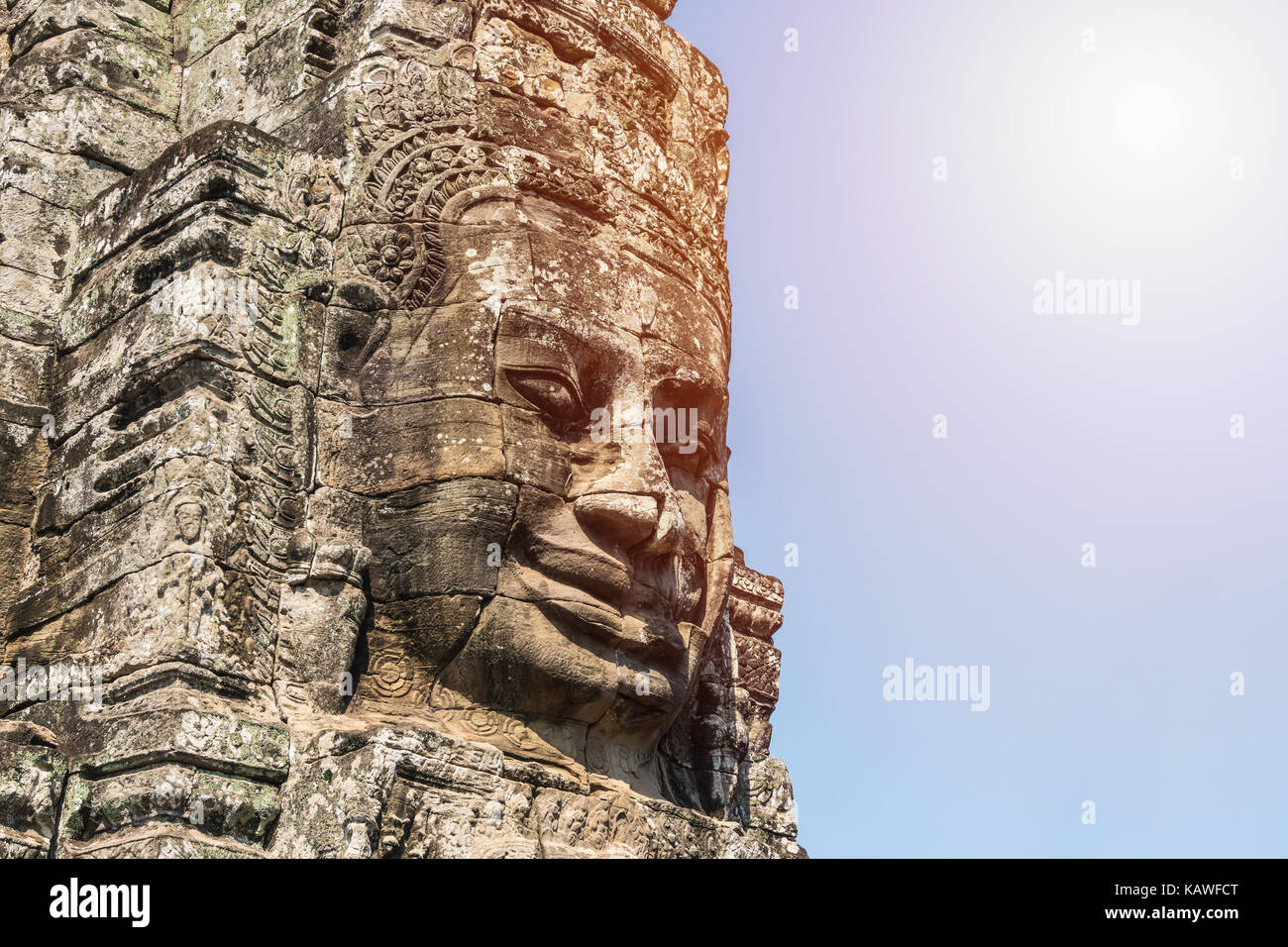 Smile face stone at bayon temple in angkor thom siem reap cambodia - Stock Image
