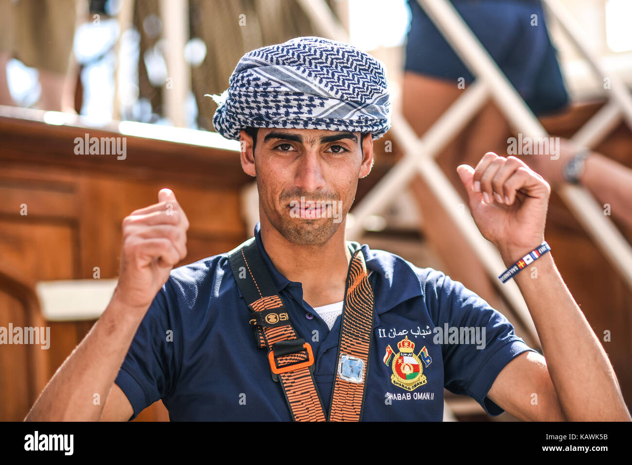 Szczecin, Poland, 6 august 2017: Shabab Oman II crew during a tour of the ship during the finale of The Tall Ships - Stock Image