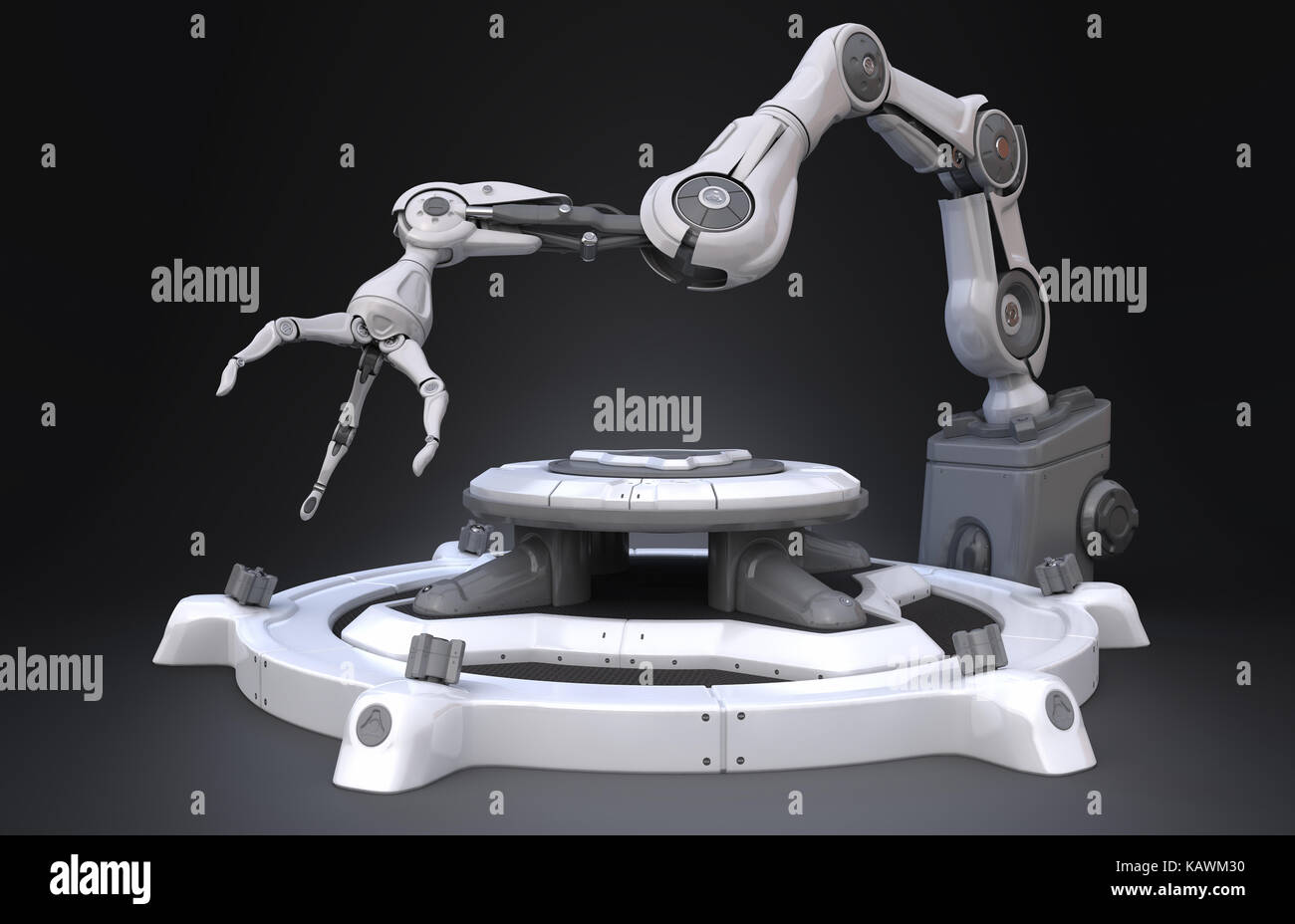 Sci-Fi Industrial robot arm.3D illustration - Stock Image