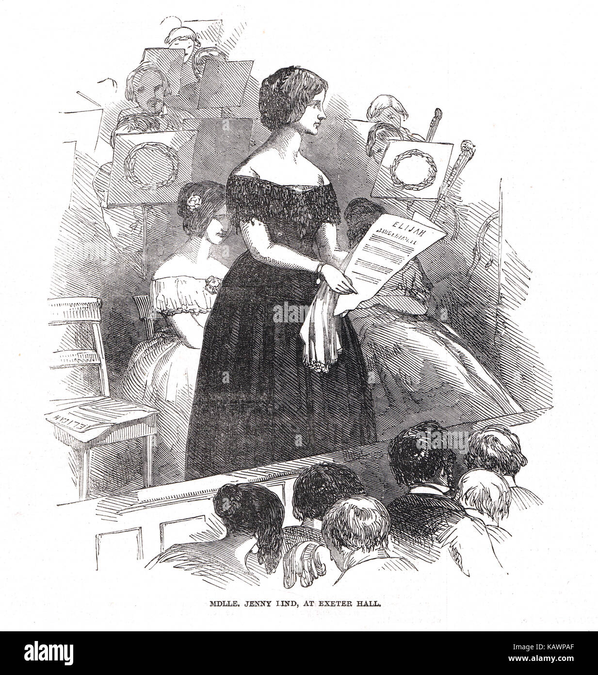 Jenny Lind, the Swedish Nightingale at Exeter Hall, 1848 - Stock Image