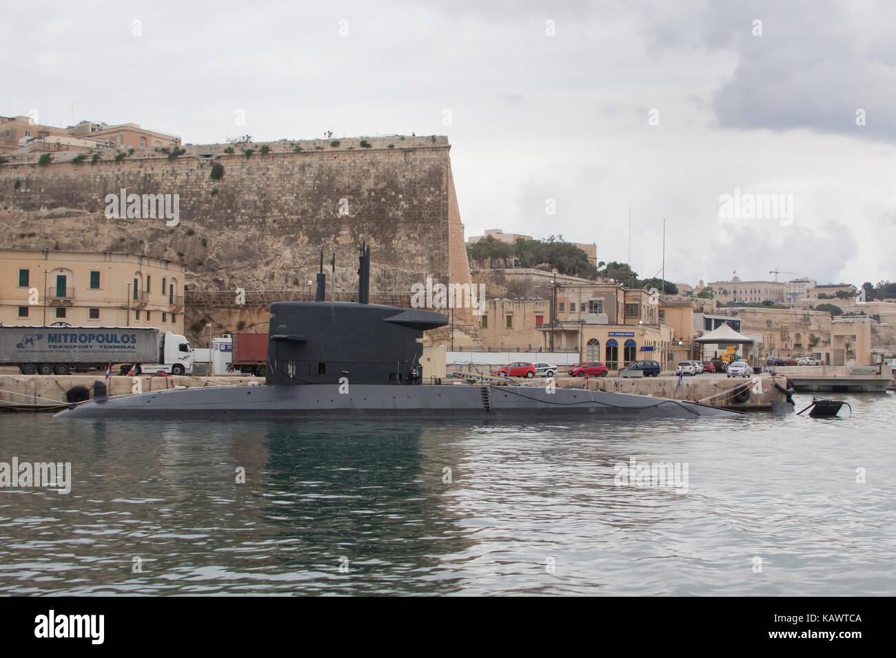 HNLMS Walrus S802 Submarine of Royal Netherlands Navy moored in the Grand Harbour Valatta Malta - Stock Image