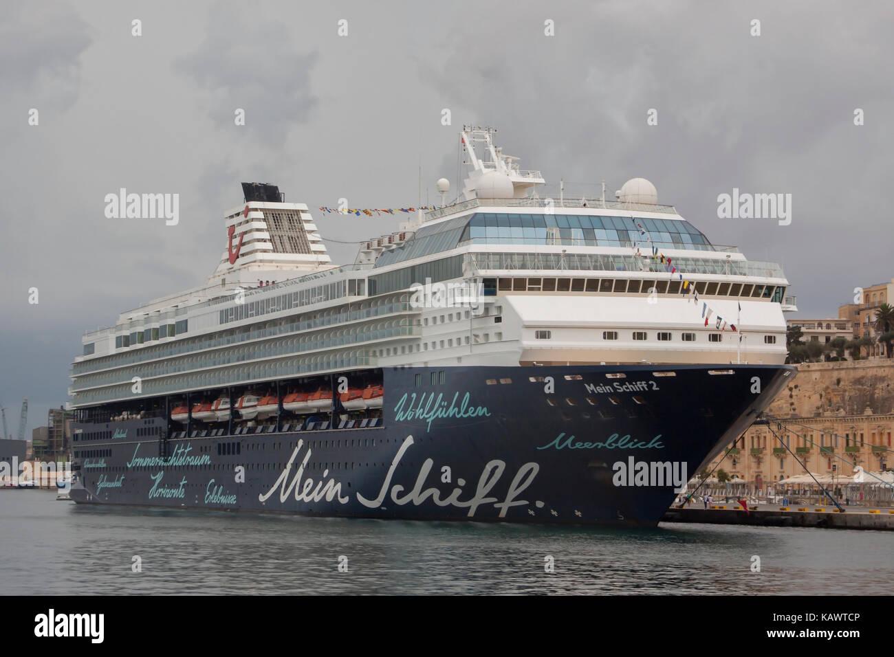 Passenger Century Class Cruise Ship Mein Schiff 2 of TUI Cruises moored in Grand Harbour Valetta Malta - Stock Image