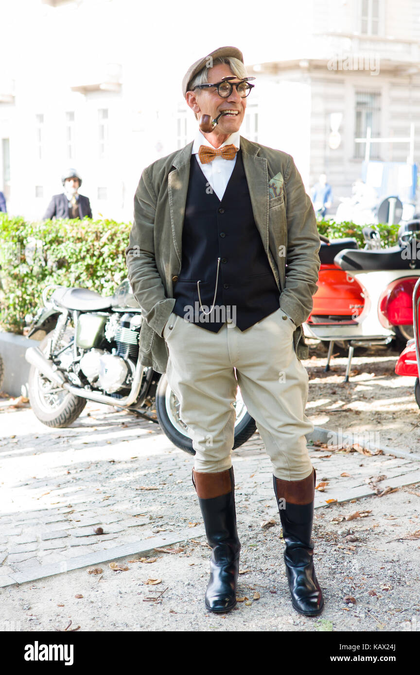 Turin, Italy, 23rd September 2017 people from the Distinguished Gentleman Ride held in Turin - Stock Image