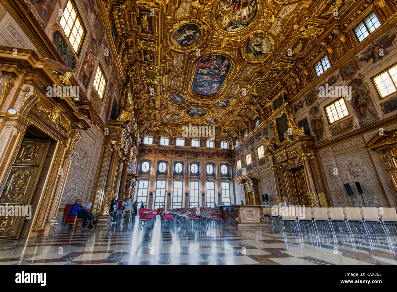 Goldener Saal or Golden hall, Rathaus or City Hall, Augsburg, Bavaria, Germany - Stock Image
