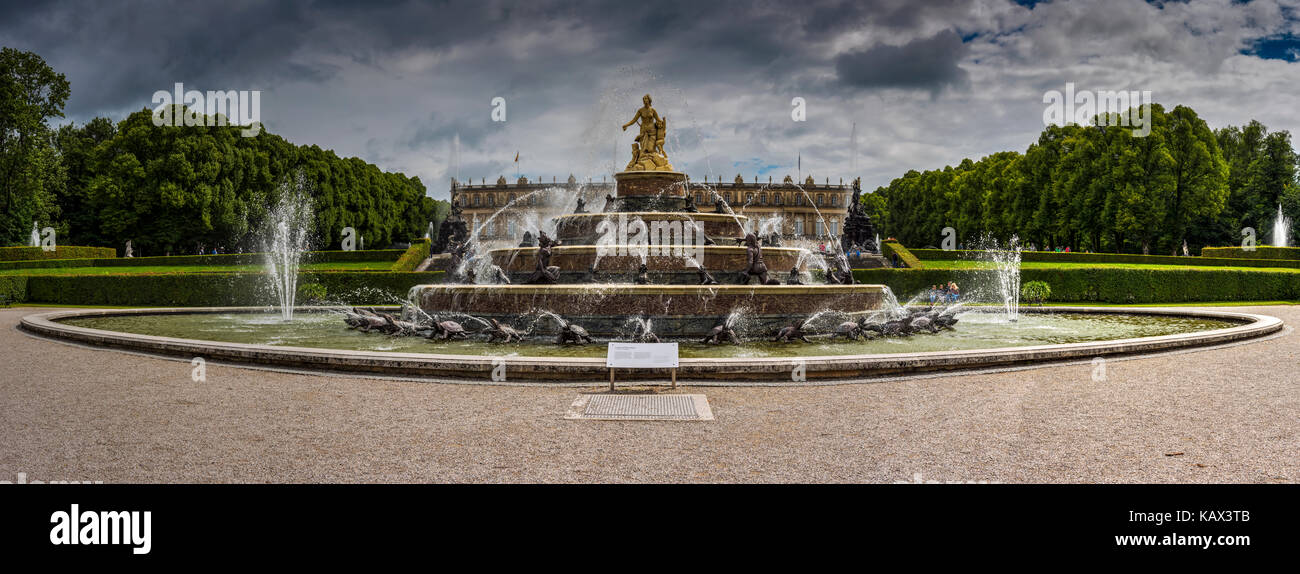 Herrenchiemsee New Palace or Neues Schloss Herrenchiemsee, Herreninsel, Bavaria, Germany - Stock Image