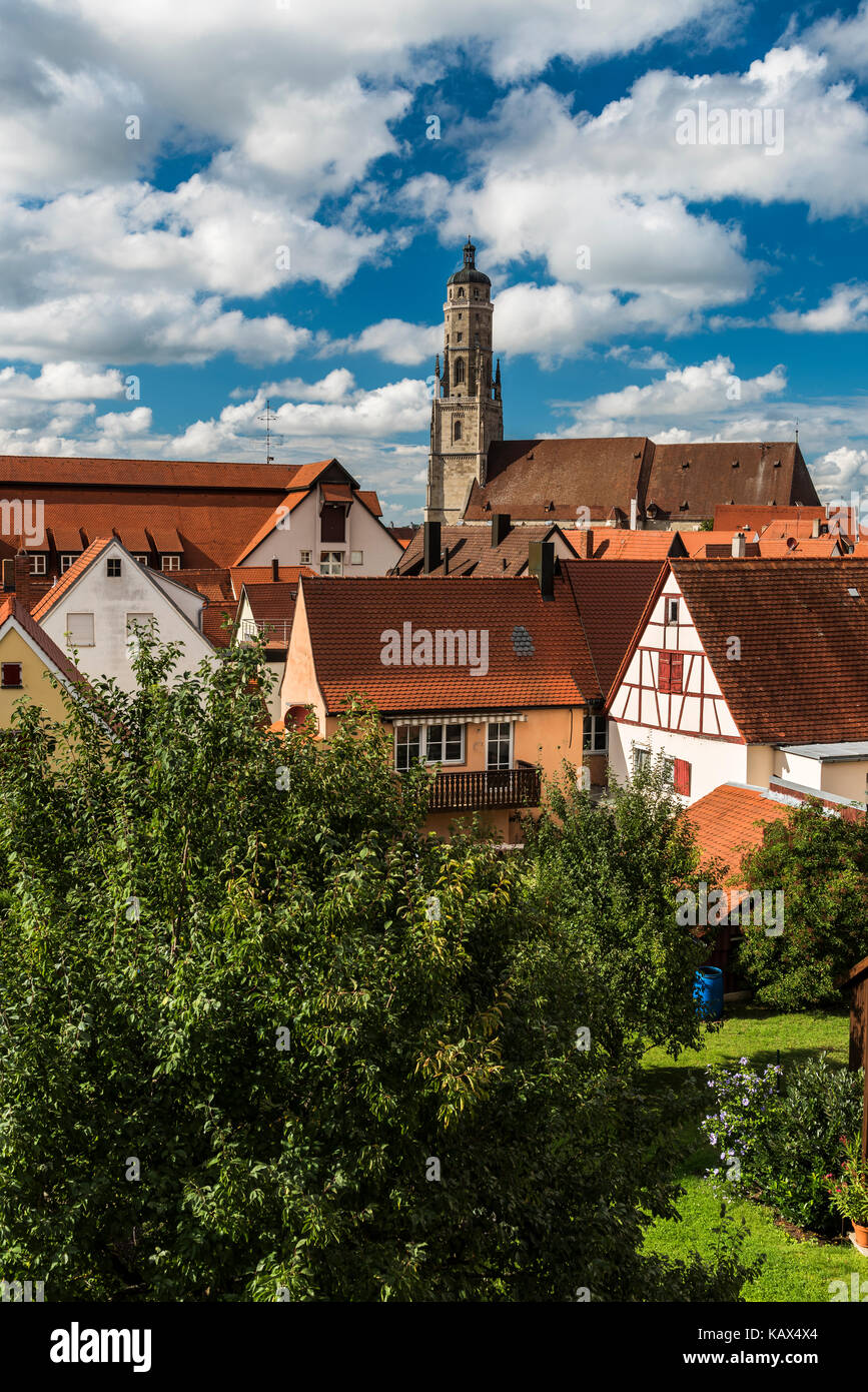 City skyline with St. Georgs Kirche or Saint George's church, Nordlingen, Bavaria, Germany - Stock Image