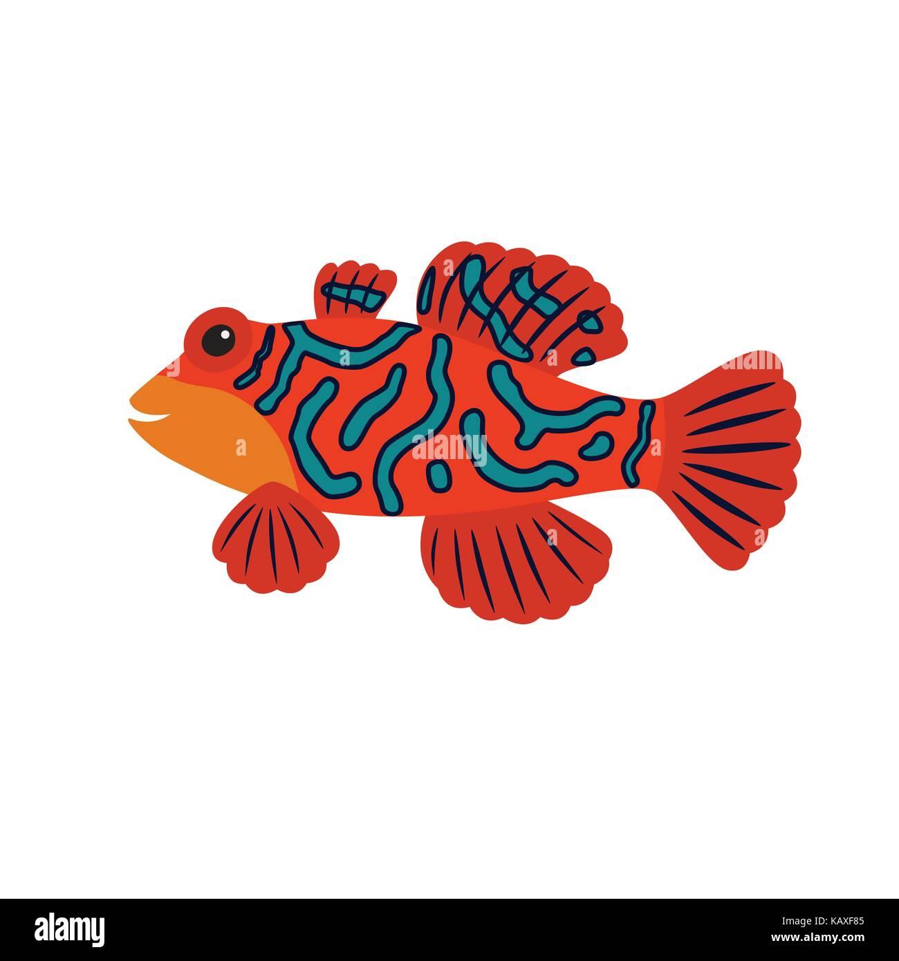 Cartoon mandarin fish Stock Vector Art & Illustration, Vector Image ...
