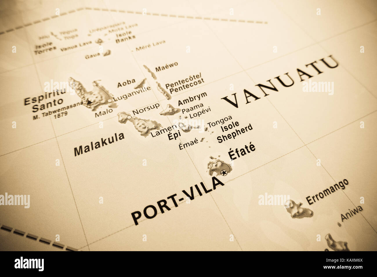 Vanuatu islands map - Stock Image