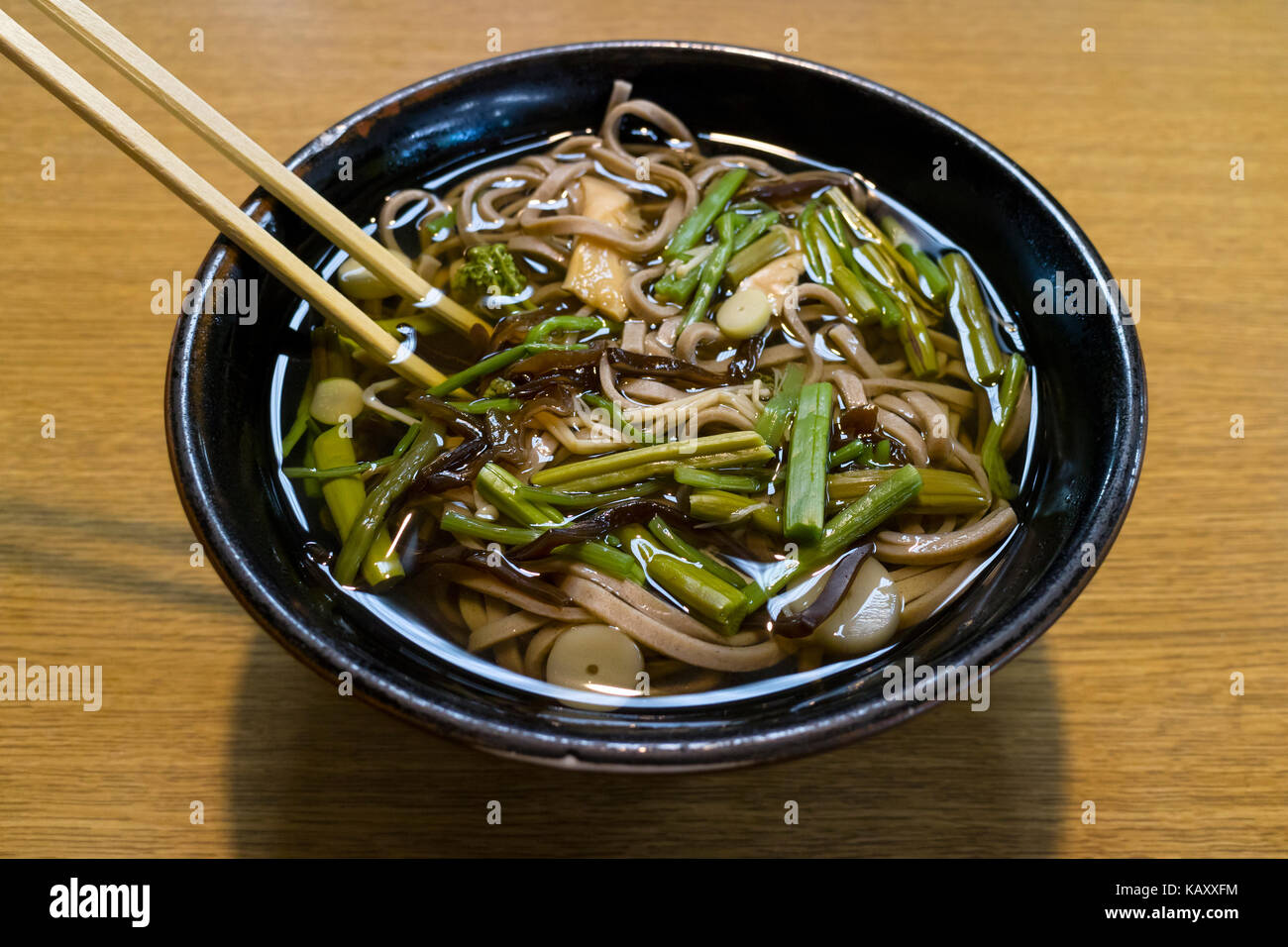 Bowl With Hot Japanese Soba Noodles And Vegetables Stock