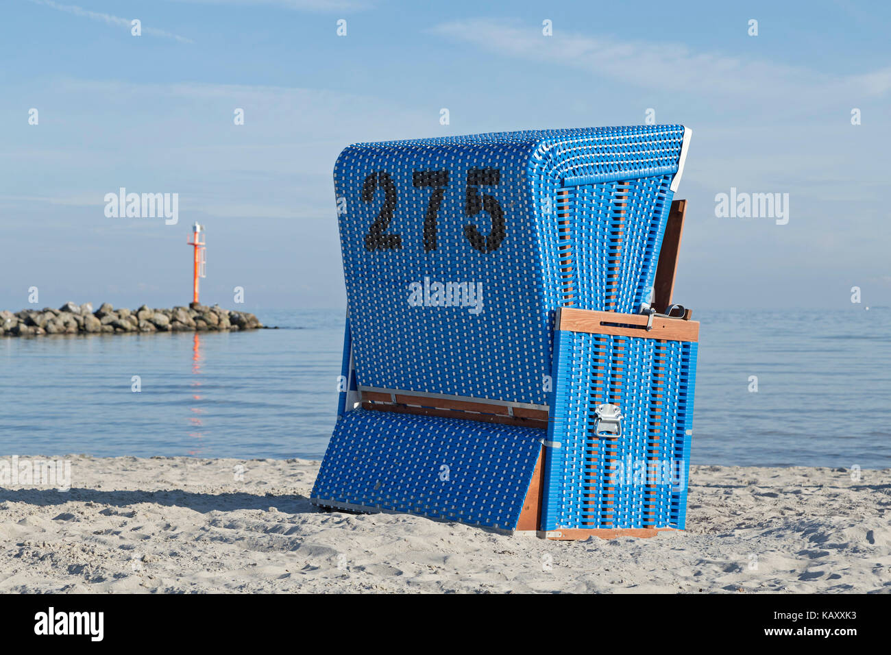 basket chair at the beach, Baltic Sea Spa Damp, Schleswig-Holstein, Germany - Stock Image