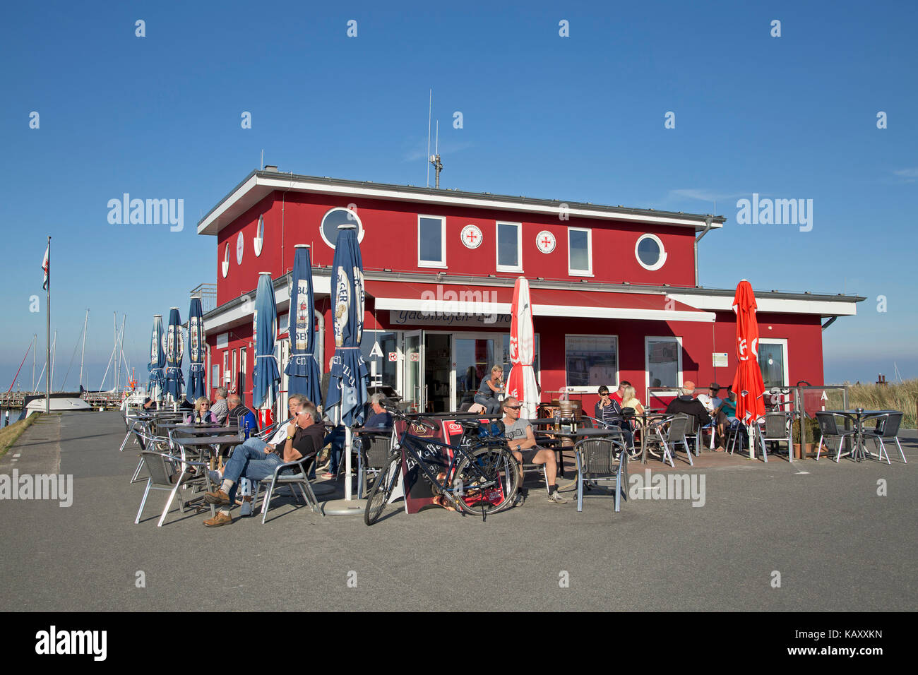 marina bistro, Baltic Sea Spa Damp, Schleswig-Holstein, Germany - Stock Image