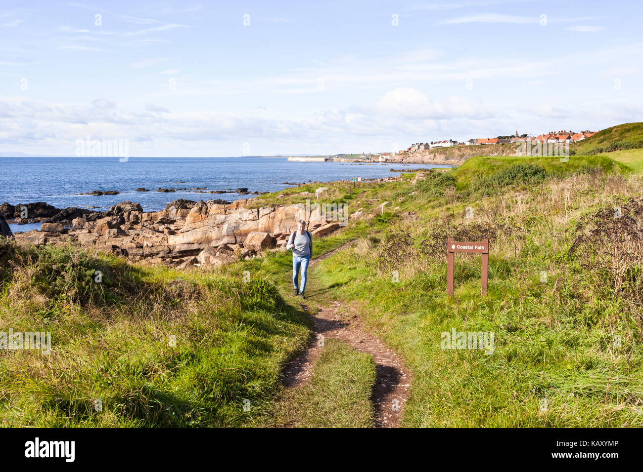 A hiker on the Fife Coastal Path between Anstruther and Pittenweem, Fife, Scotland UK - Stock Image