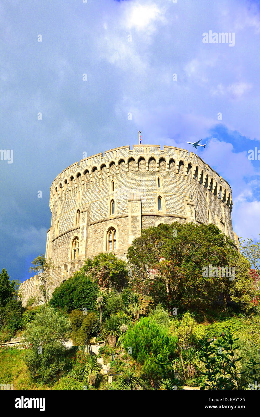 Round Tower and moat garden at  Windsor Castle - the Queens Royal weekend residence ,Windsor, Berksire , England - Stock Image