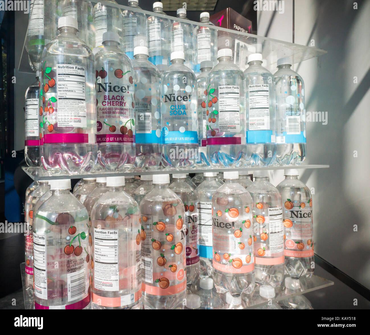 A display of house brand bottled water in New York on Monday, September 25, 2017. (© Richard B. Levine) - Stock Image