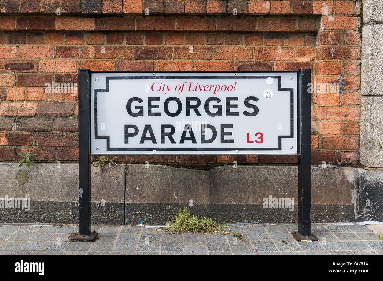 George's Parade L3 street sign, Liverpool, UK - Stock Image