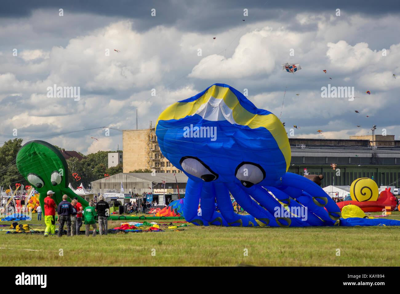 Kite festival at Tempelhofer Feld in Berlin, Germany 2017. Stock Photo