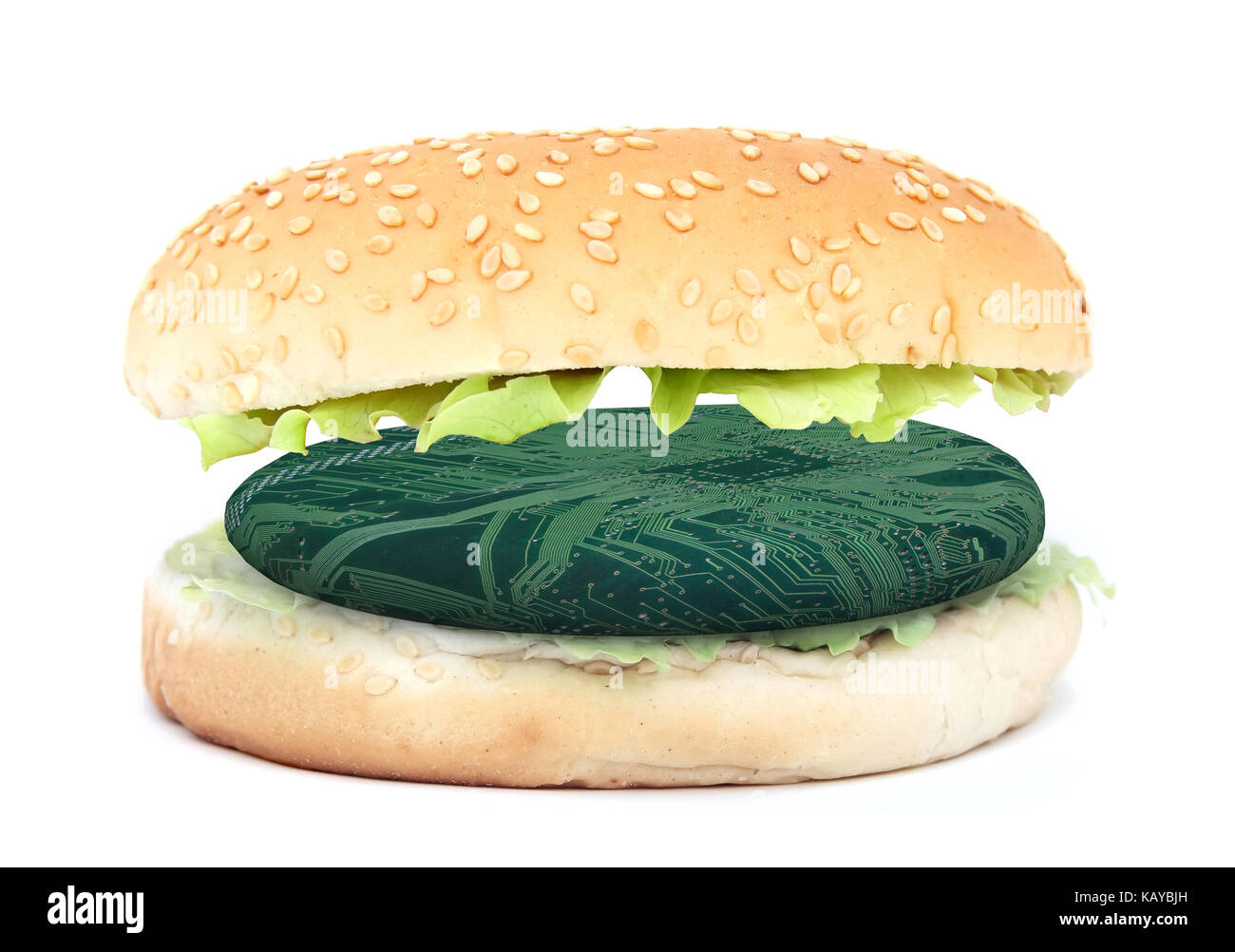 Sandwich with electronic burger, synthetic meat concept, 3d illustration - Stock Image