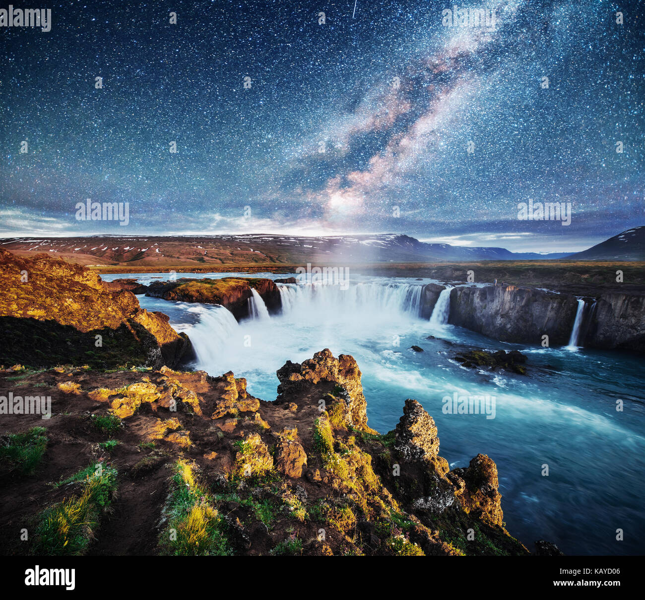 Hodafoss very beautiful Icelandic waterfall. It is located in the north near Lake Myvatn and the Ring Road. Fantastic - Stock Image