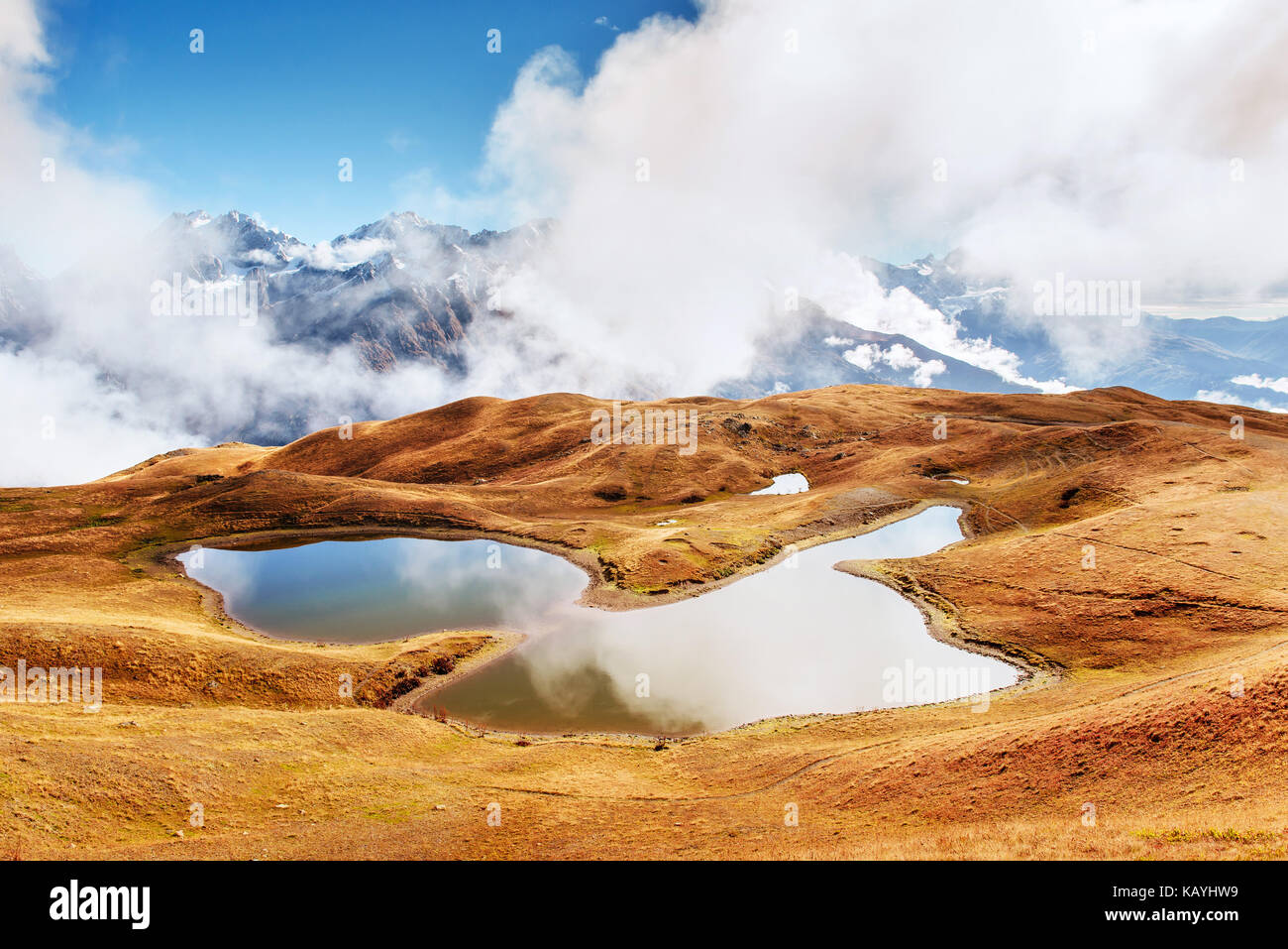 Koruldi mountain lake. Upper Svaneti, Georgia, Europe. Caucasus mountains. - Stock Image