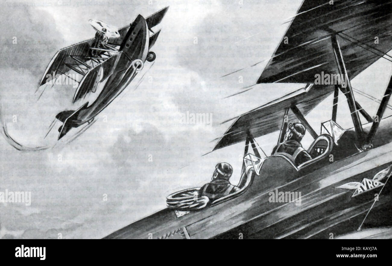 An illustration from the Boys Own Annual 1932-33 - An war time air fight between two bi-planes (one marked Avro) Stock Photo