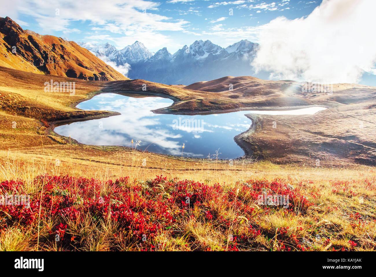 Sunset on mountain lake Koruldi. Upper Svaneti, Georgia, Caucasus mountains - Stock Image