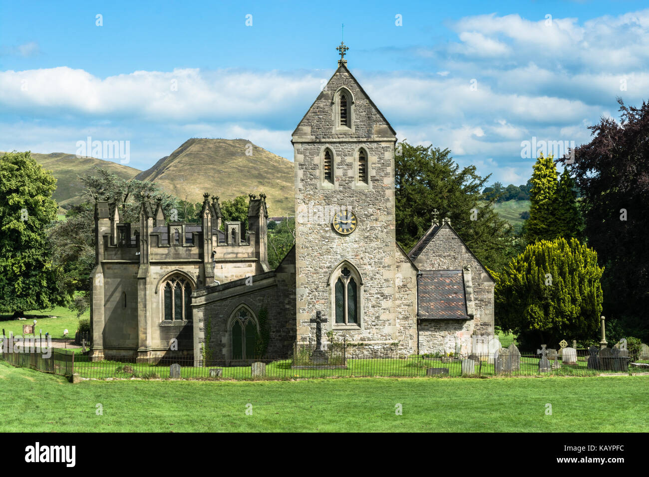 Ilam, Staffordshire, UK: Church of the Holy Cross, a small stone church near the village of Ilam, close to Peack - Stock Image