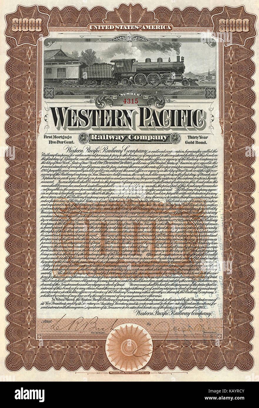 Western Pacific RW 1903 - Stock Image