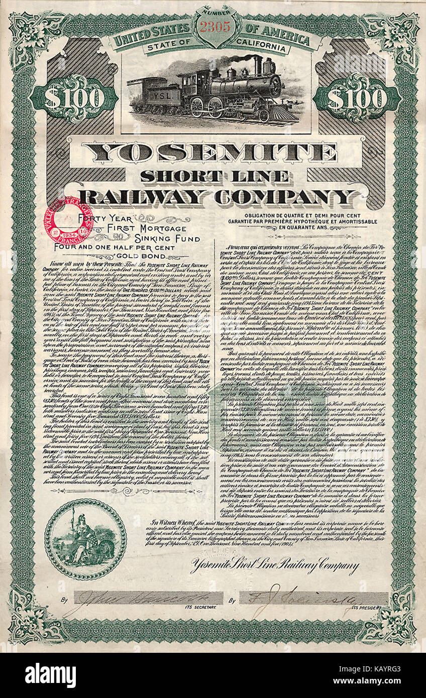 Yosemite Short Line RW 1905 - Stock Image