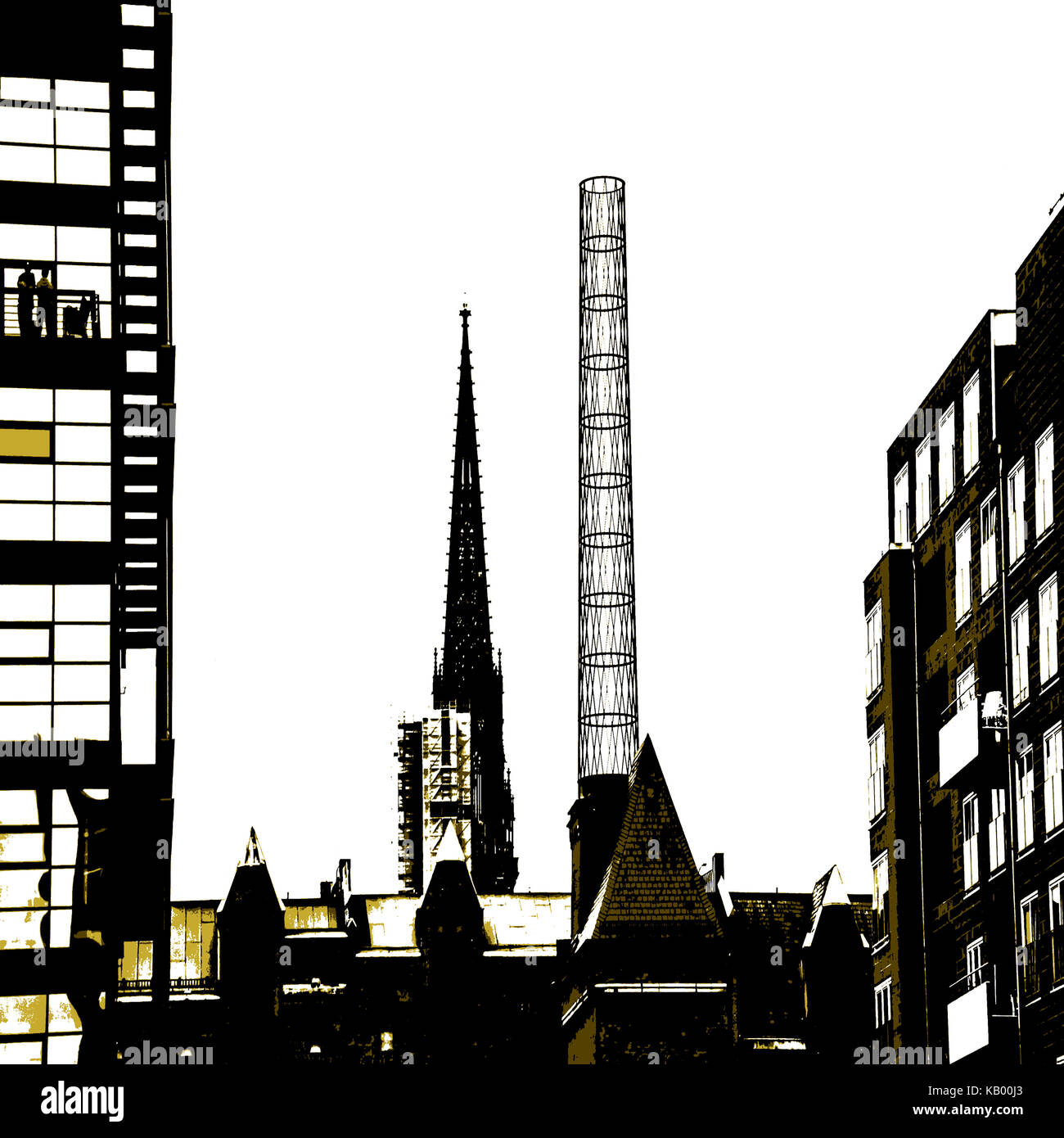 Chimney of the boiler house of the Hafencity Hamburg - Stock Image