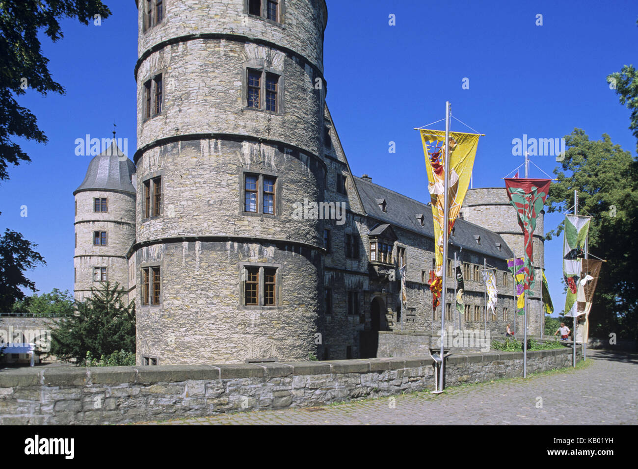 Height castle of castle Wewels, circle Paderborn, North Rhine-Westphalia, Germany, Europe, building, castle, structure, - Stock Image