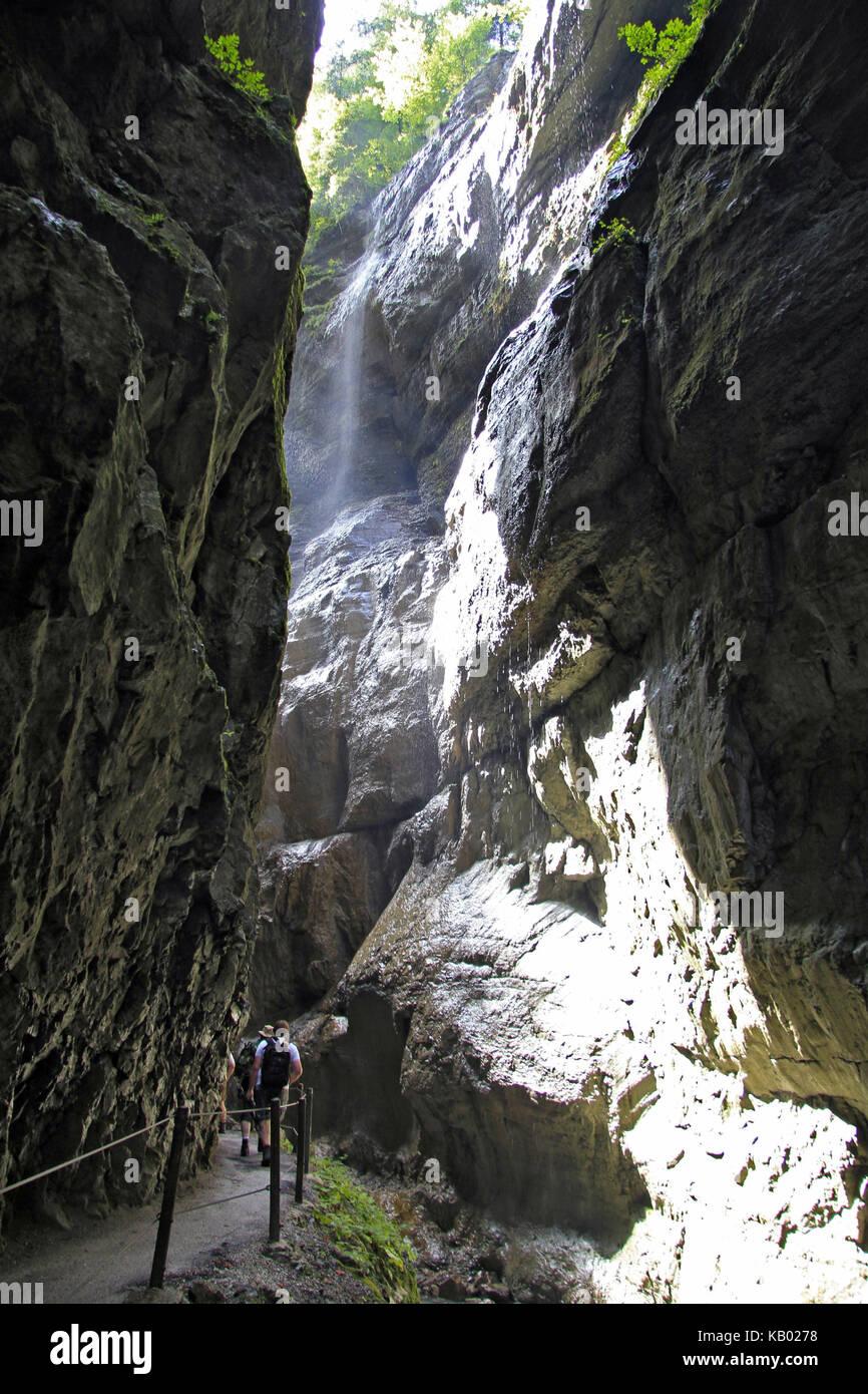 Germany, Upper Bavaria, spectacle of nature Partnachklamm near Garmisch-Partenkirchen, - Stock Image