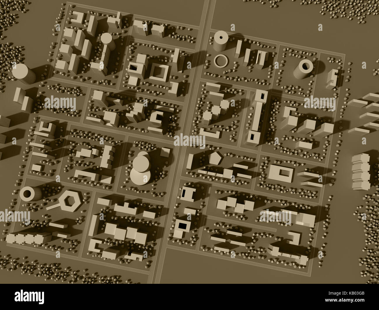 3d rendering map of city in sepia tones - Stock Image