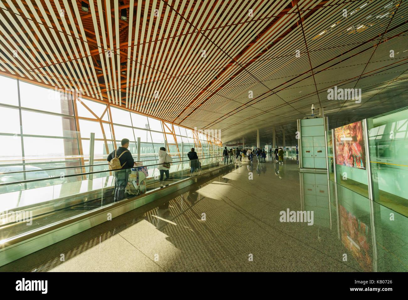 Beijing, JAN 3: Interior view of the Escalator of Beijing International Airport at Beijing, China - Stock Image