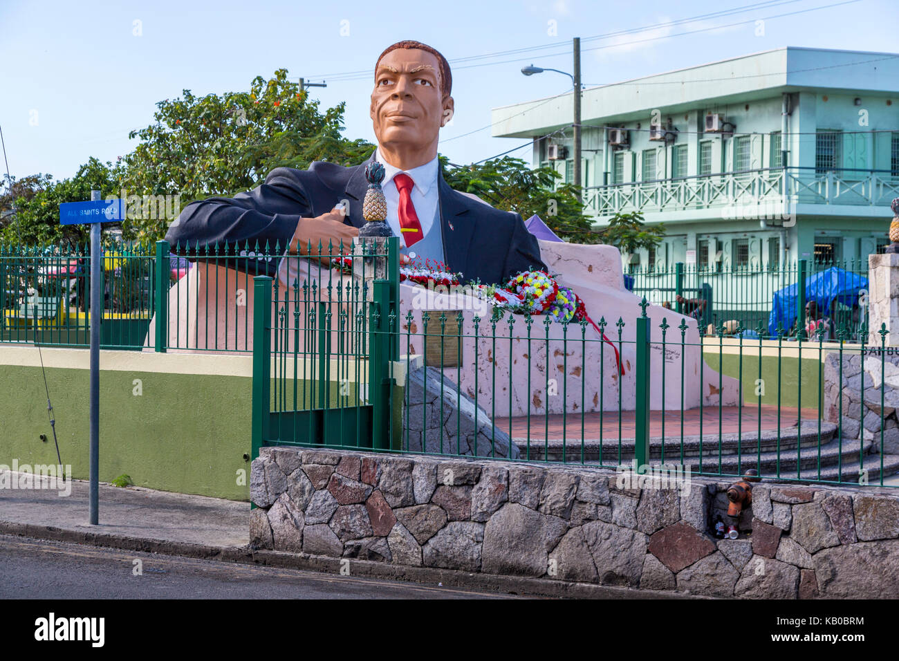 St. Johns, Antigua.  Monument to First Prime Minister, Sir Vere Cornwall Bird, Sr, Father of the Nation. - Stock Image