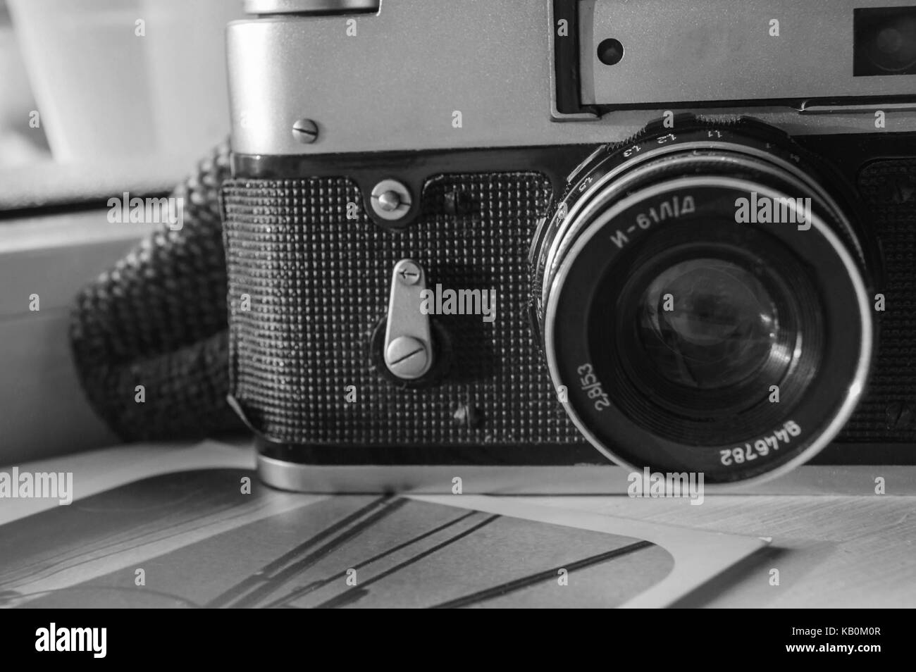 old camera and photo - Stock Image